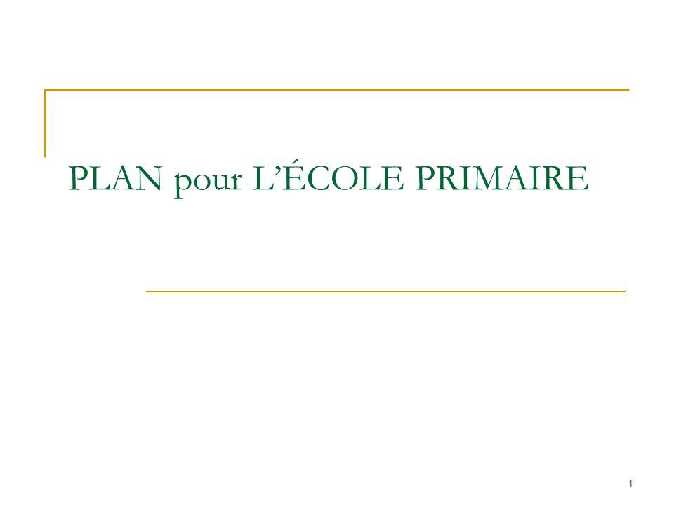 PLAN pour L'ÉCOLE PRIMAIRE