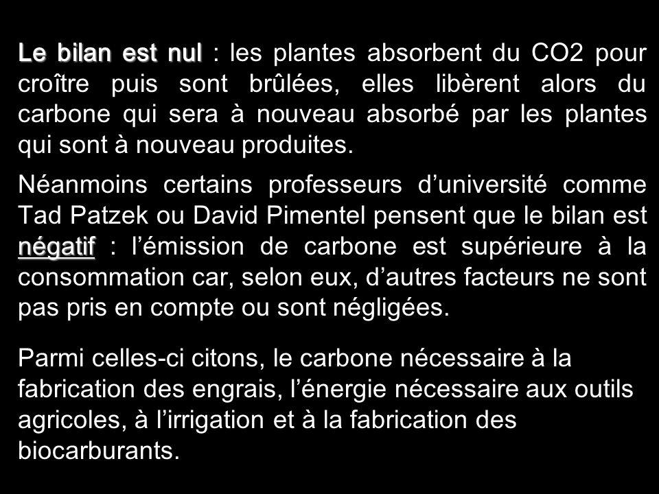 Le bilan est nul : les plantes absorbent du CO2 pour croître puis sont brûlées, elles libèrent alors du carbone qui sera à nouveau absorbé par les plantes qui sont à nouveau produites.