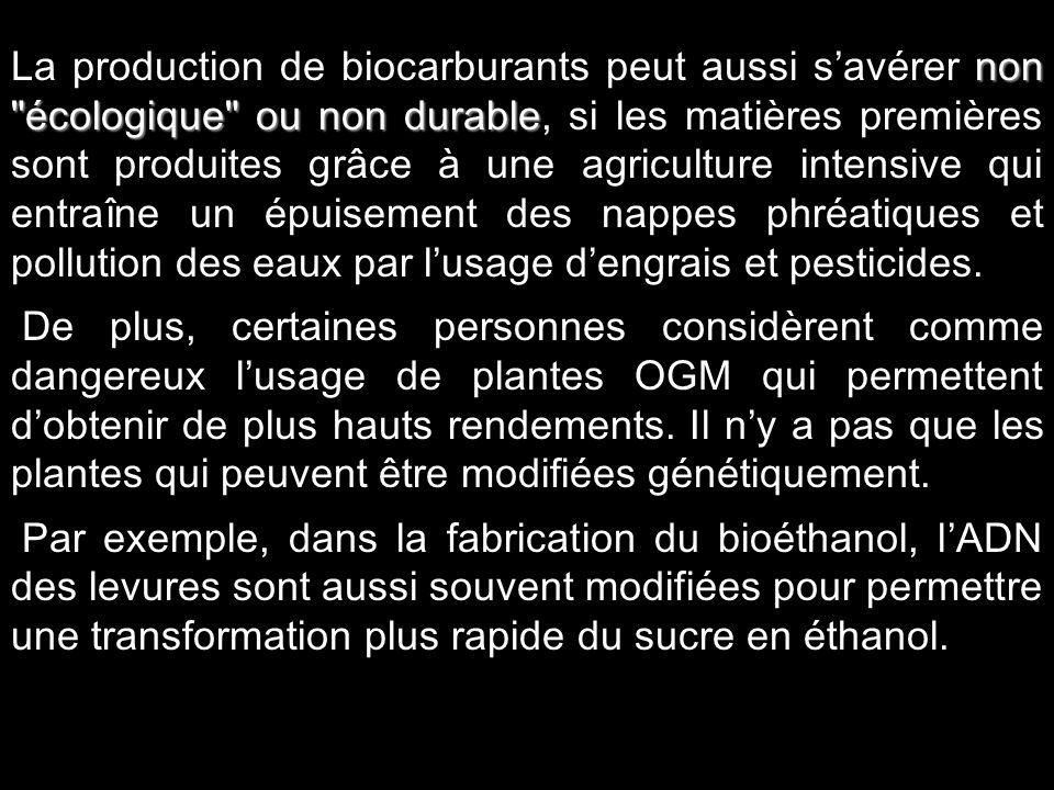 La production de biocarburants peut aussi s'avérer non écologique ou non durable, si les matières premières sont produites grâce à une agriculture intensive qui entraîne un épuisement des nappes phréatiques et pollution des eaux par l'usage d'engrais et pesticides.