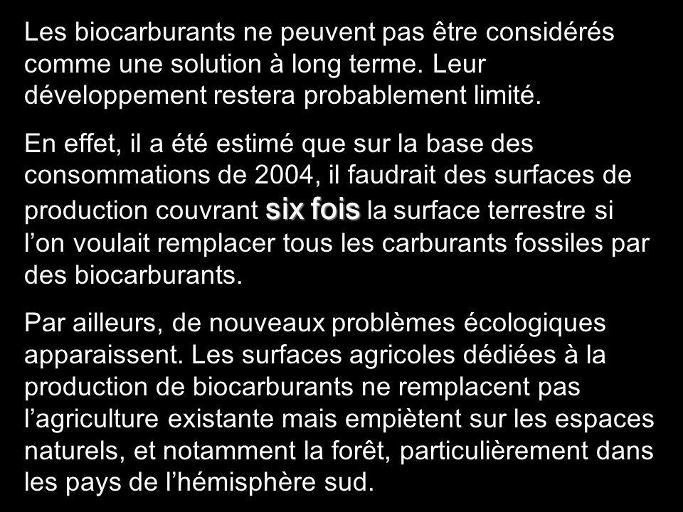 Les biocarburants ne peuvent pas être considérés comme une solution à long terme. Leur développement restera probablement limité.
