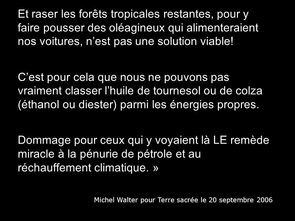 Et raser les forêts tropicales restantes, pour y faire pousser des oléagineux qui alimenteraient nos voitures, n'est pas une solution viable!