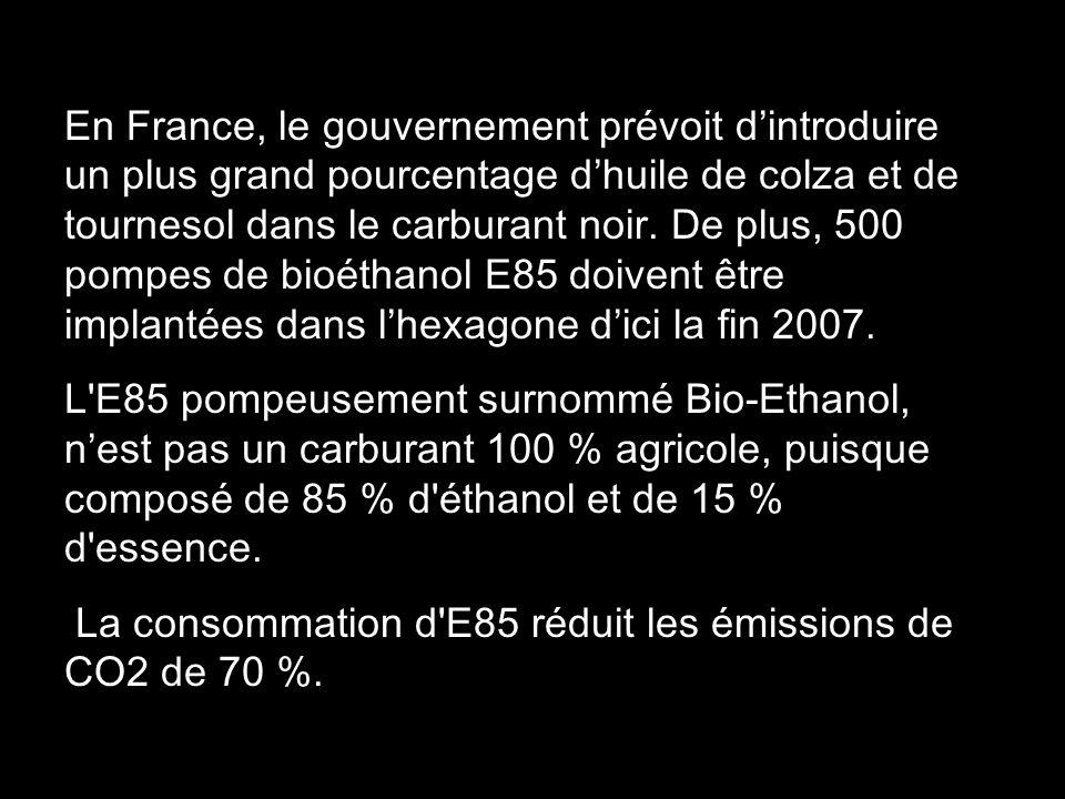 En France, le gouvernement prévoit d'introduire un plus grand pourcentage d'huile de colza et de tournesol dans le carburant noir. De plus, 500 pompes de bioéthanol E85 doivent être implantées dans l'hexagone d'ici la fin 2007.