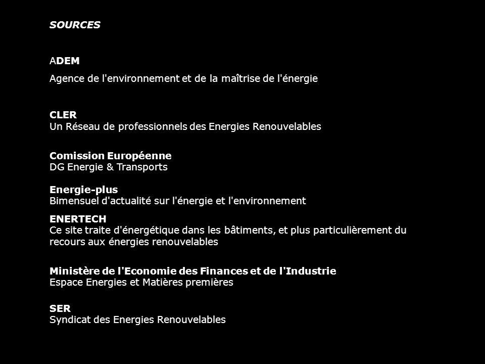 SOURCES ADEM. Agence de l environnement et de la maîtrise de l énergie. CLER Un Réseau de professionnels des Energies Renouvelables.