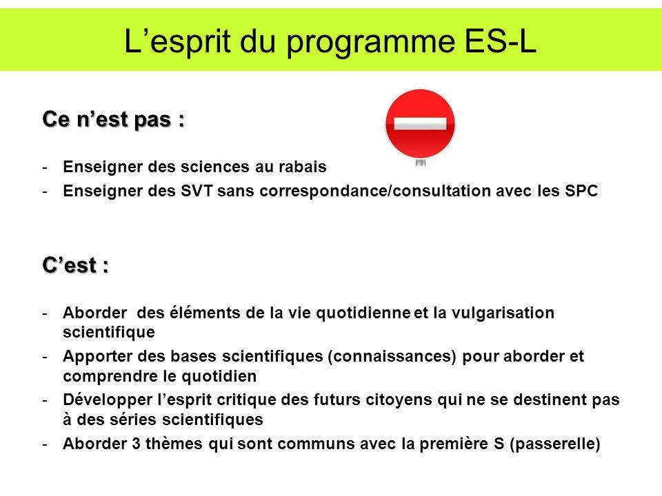 L'esprit du programme ES-L