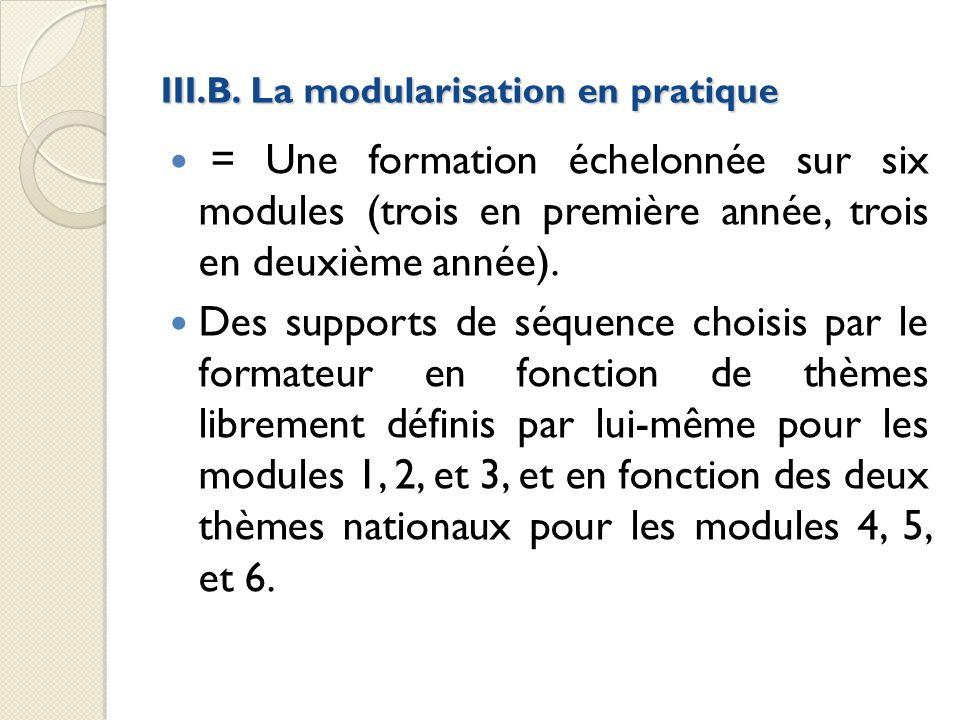 III.B. La modularisation en pratique