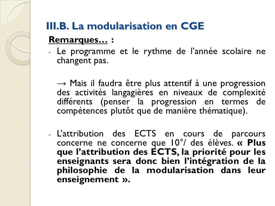 III.B. La modularisation en CGE