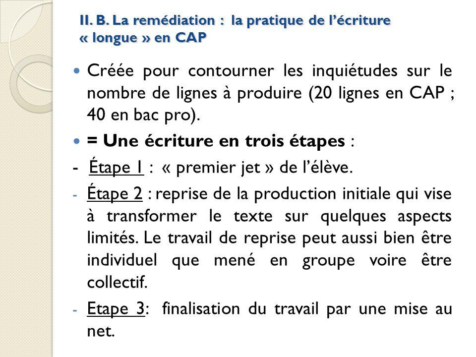 II. B. La remédiation : la pratique de l'écriture « longue » en CAP