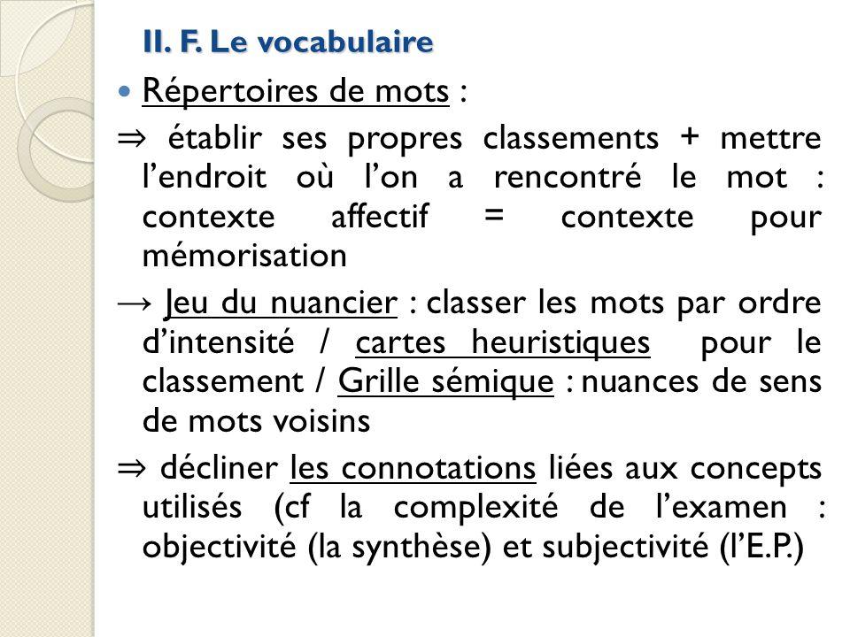 II. F. Le vocabulaire Répertoires de mots :