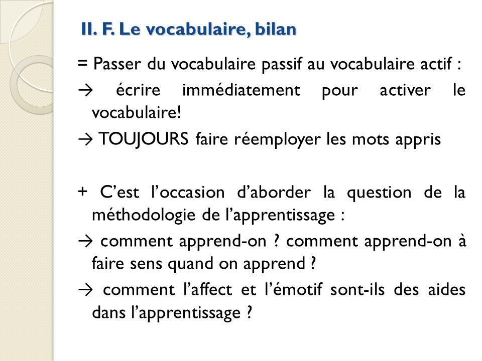 II. F. Le vocabulaire, bilan