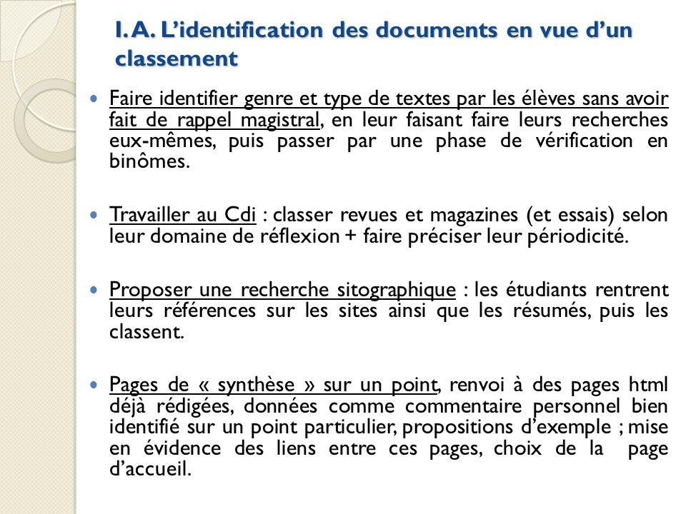 I. A. L'identification des documents en vue d'un classement
