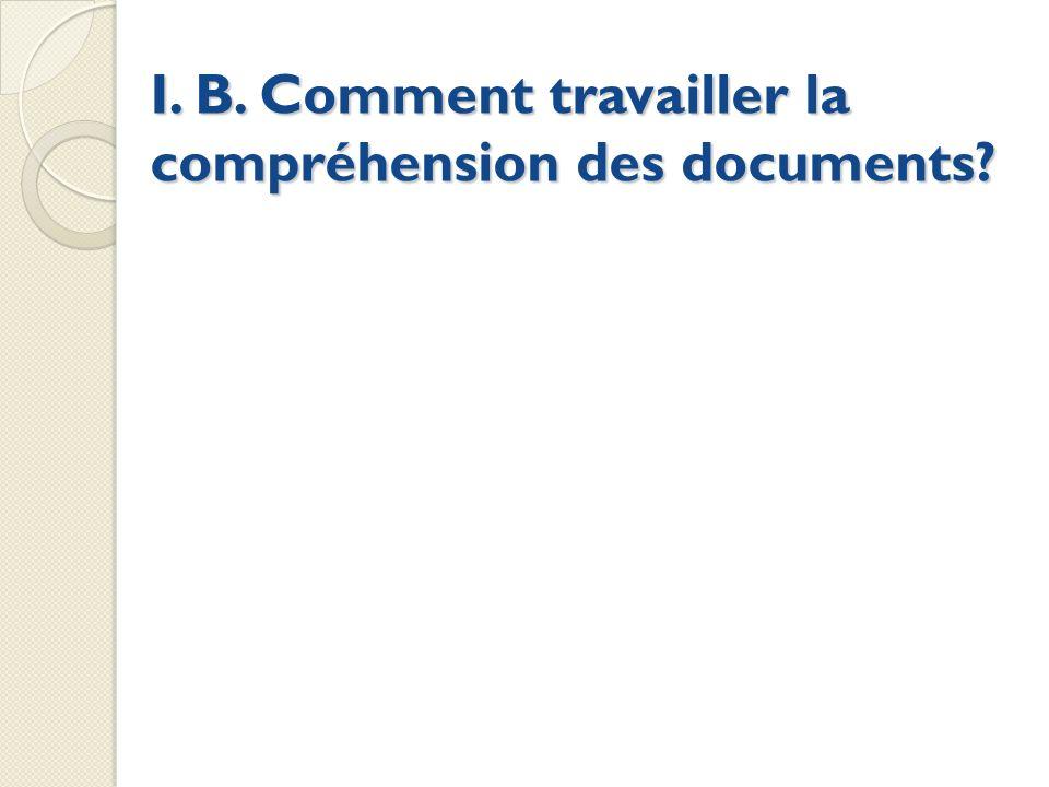 I. B. Comment travailler la compréhension des documents