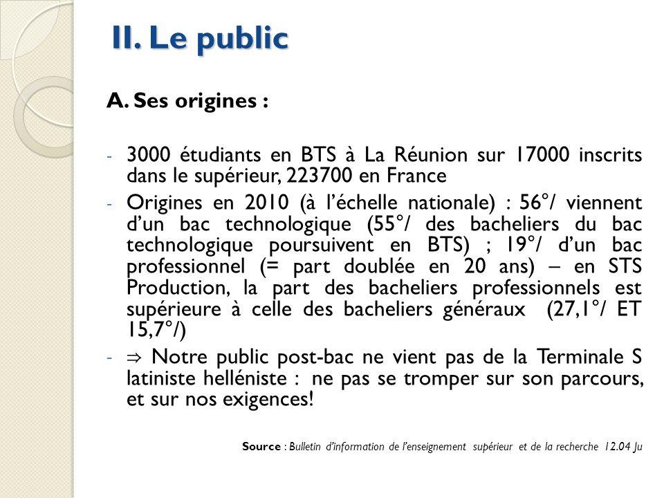 II. Le public A. Ses origines :
