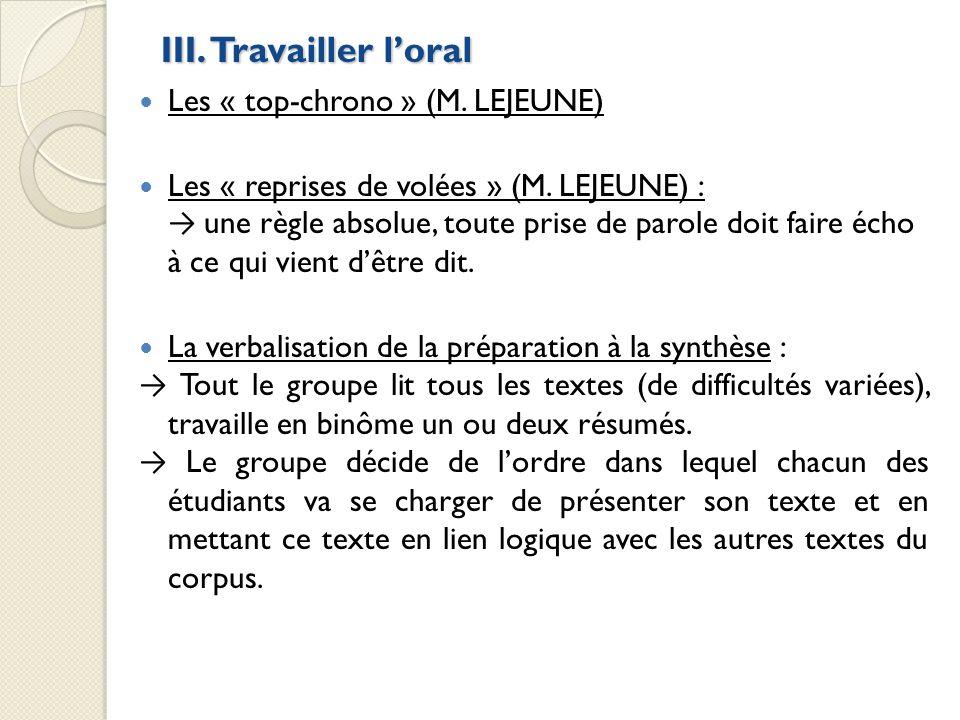 III. Travailler l'oral Les « top-chrono » (M. LEJEUNE)