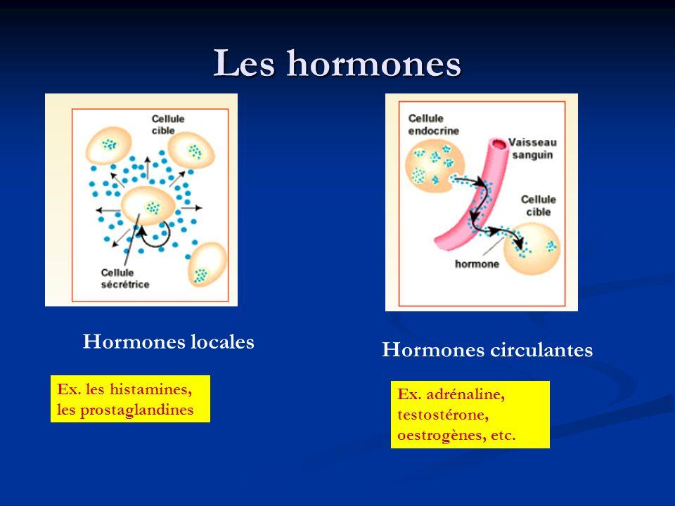 Les hormones Hormones locales Hormones circulantes Ex. les histamines,