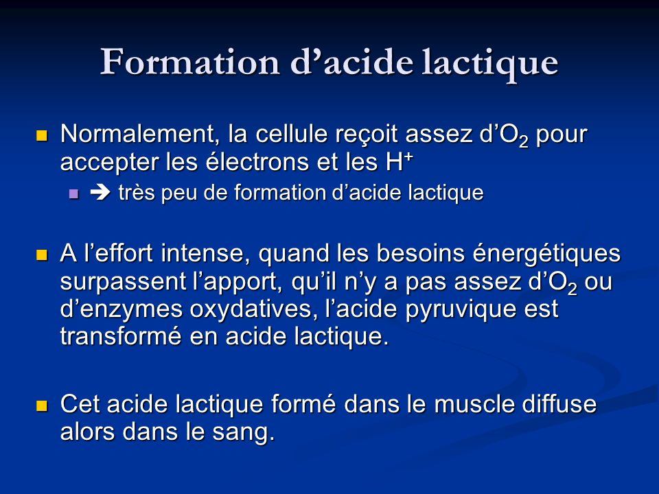 Formation d'acide lactique