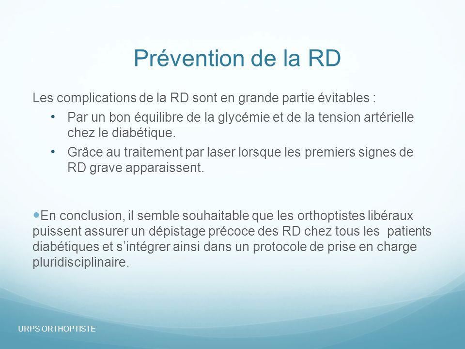 07/10/13 Prévention de la RD. Les complications de la RD sont en grande partie évitables :