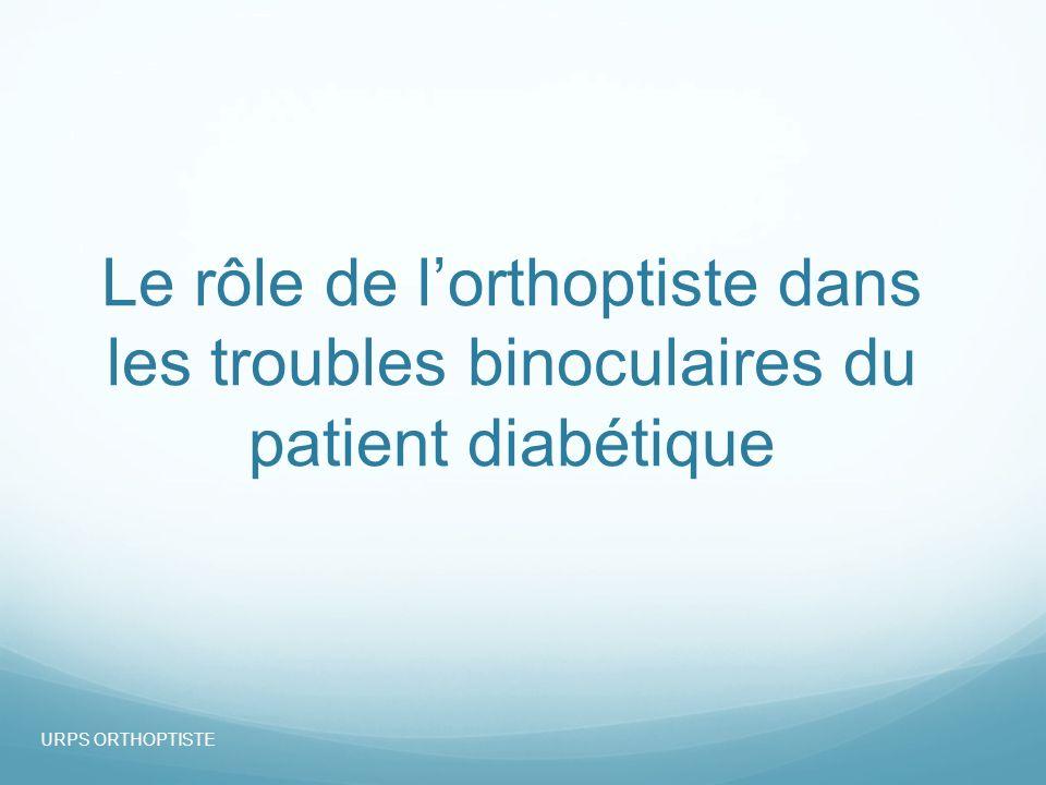 07/10/13 Le rôle de l'orthoptiste dans les troubles binoculaires du patient diabétique.