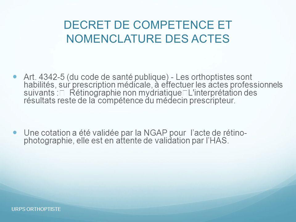 DECRET DE COMPETENCE ET NOMENCLATURE DES ACTES