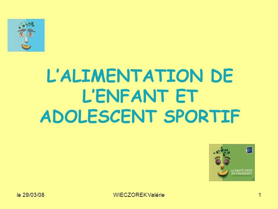 L'ALIMENTATION DE L'ENFANT ET ADOLESCENT SPORTIF