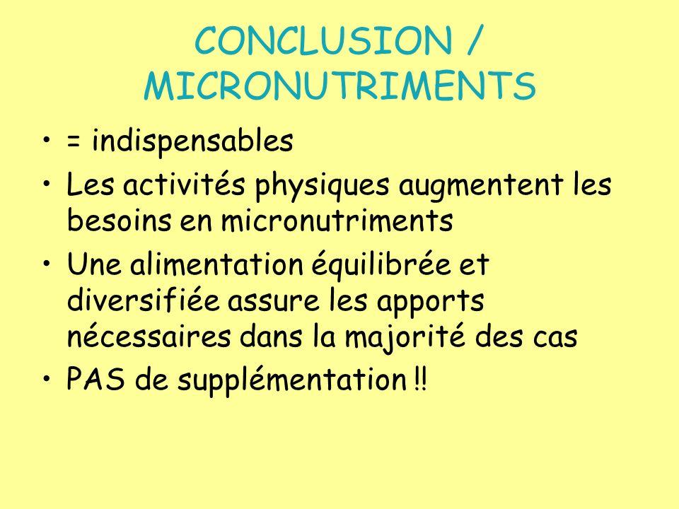CONCLUSION / MICRONUTRIMENTS