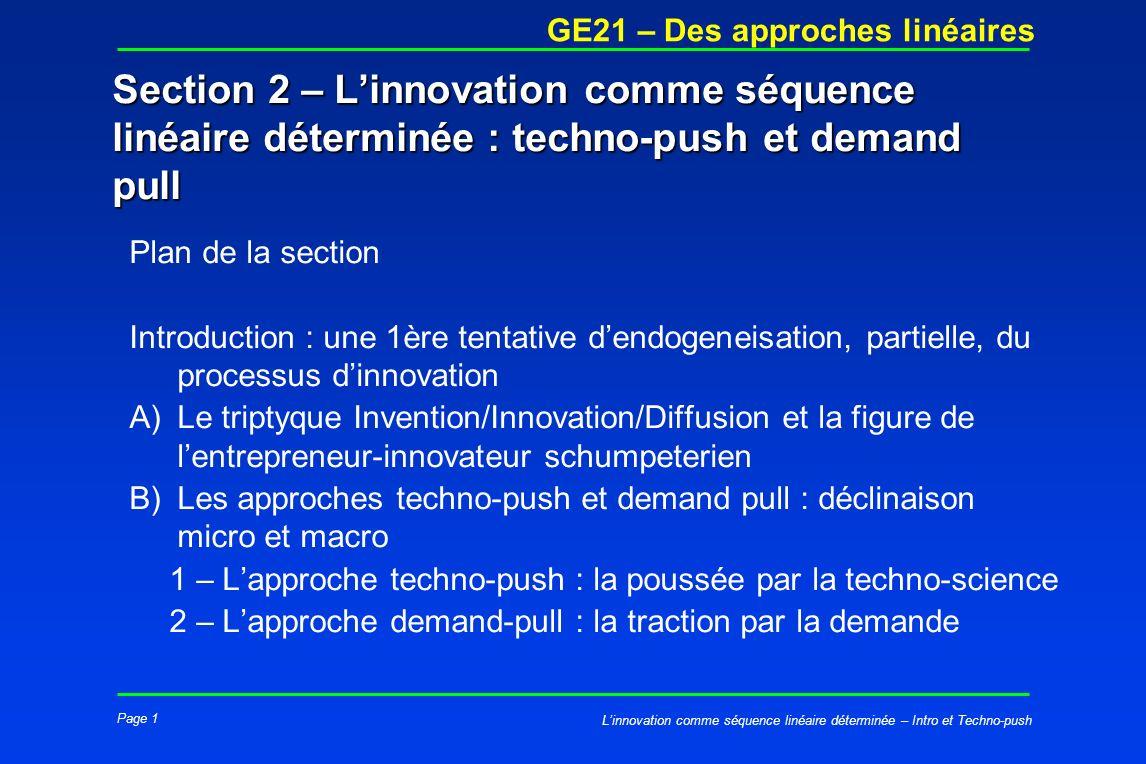 Section 2 – L'innovation comme séquence linéaire déterminée : techno-push et demand pull