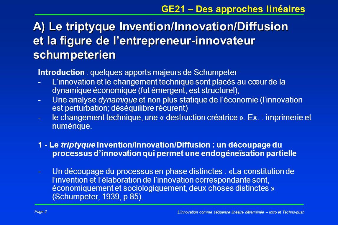 A) Le triptyque Invention/Innovation/Diffusion et la figure de l'entrepreneur-innovateur schumpeterien