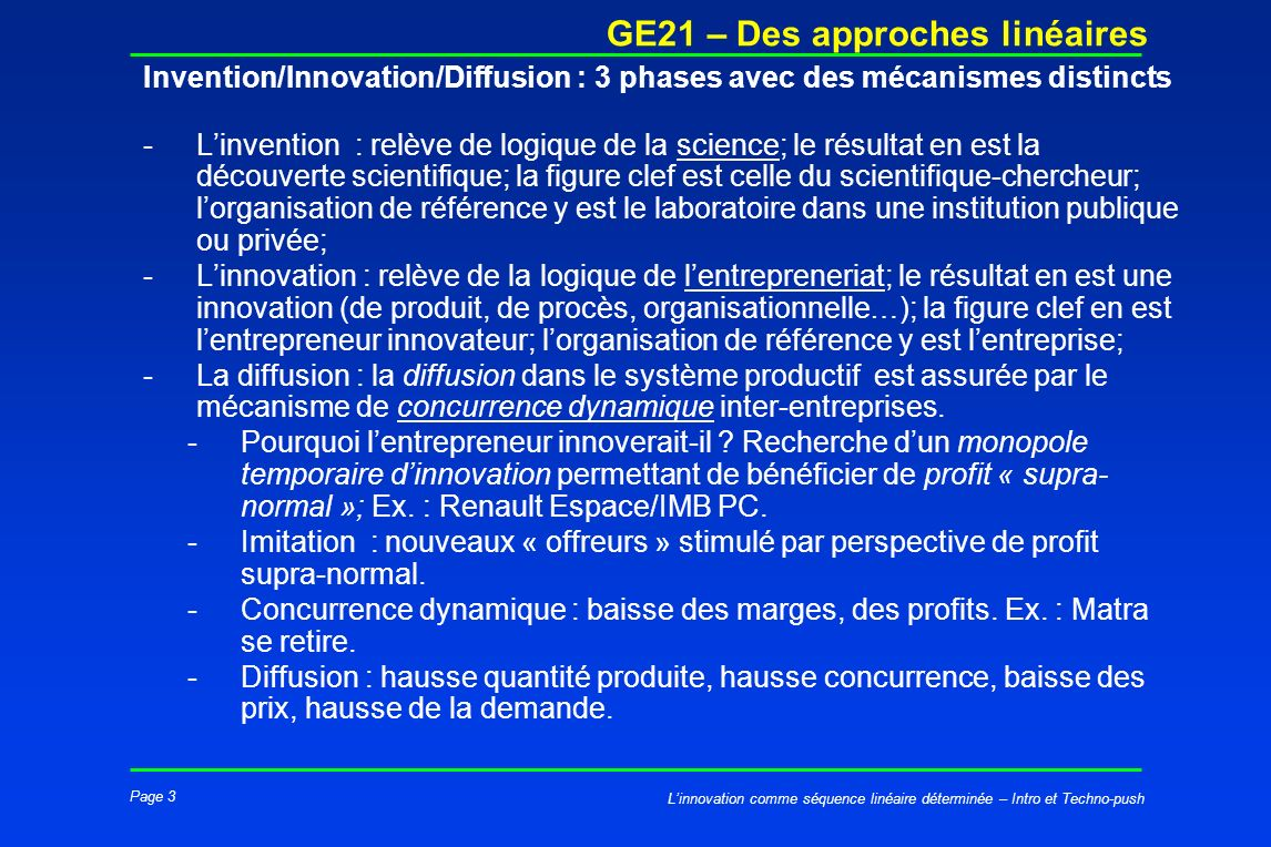 Invention/Innovation/Diffusion : 3 phases avec des mécanismes distincts