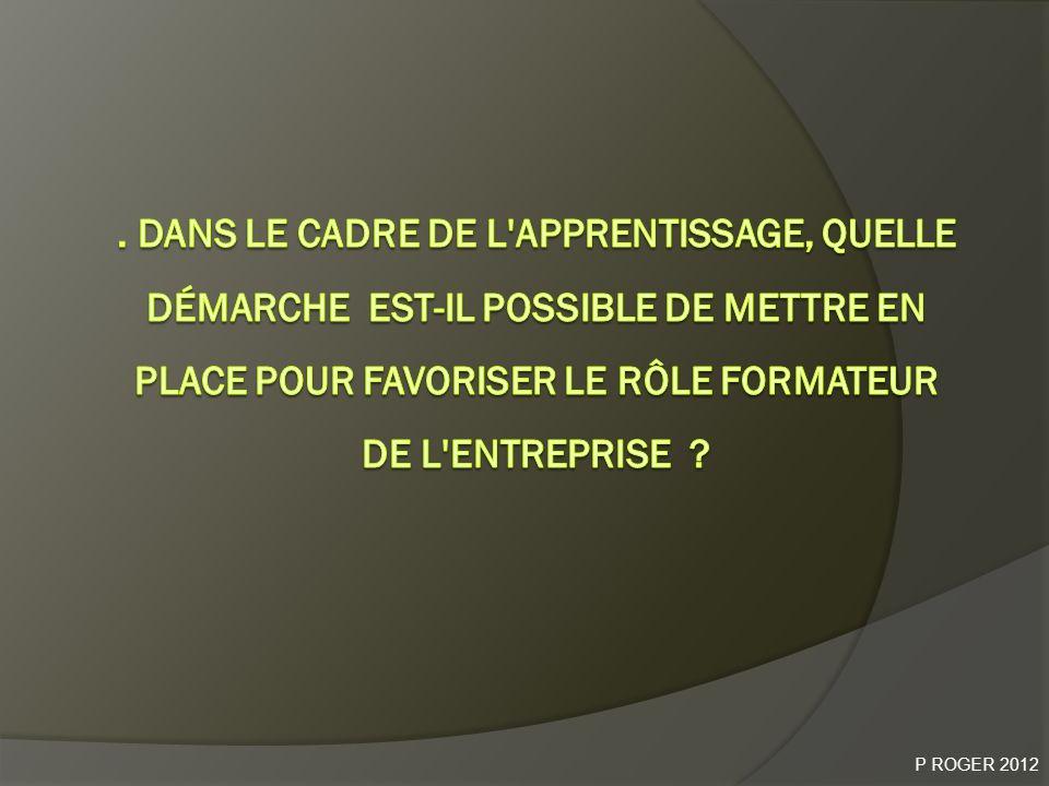 . Dans le cadre de l apprentissage, quelle démarche est-il possible de mettre en place pour favoriser le rôle formateur de l entreprise