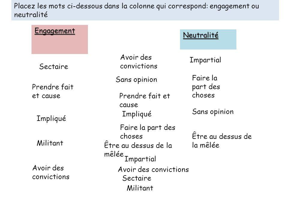 Placez les mots ci-dessous dans la colonne qui correspond: engagement ou neutralité