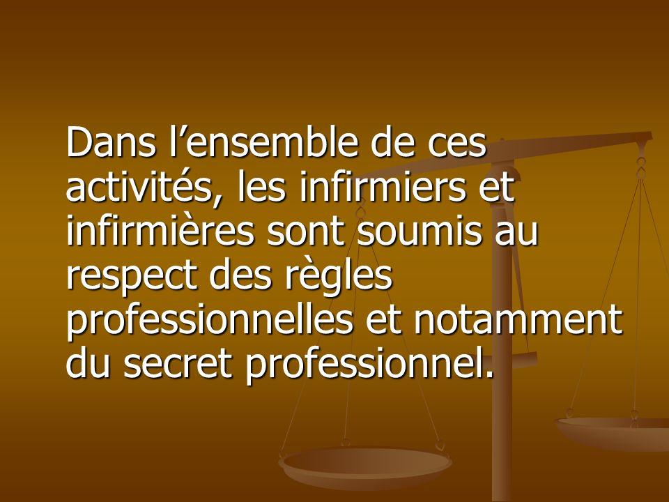 Dans l'ensemble de ces activités, les infirmiers et infirmières sont soumis au respect des règles professionnelles et notamment du secret professionnel.