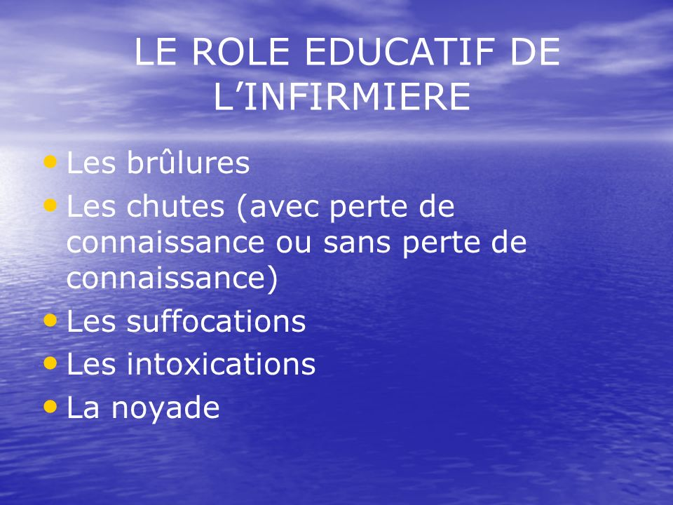 LE ROLE EDUCATIF DE L'INFIRMIERE