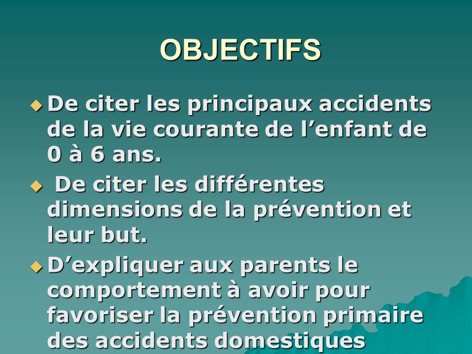 De citer les différentes dimensions de la prévention et leur but.