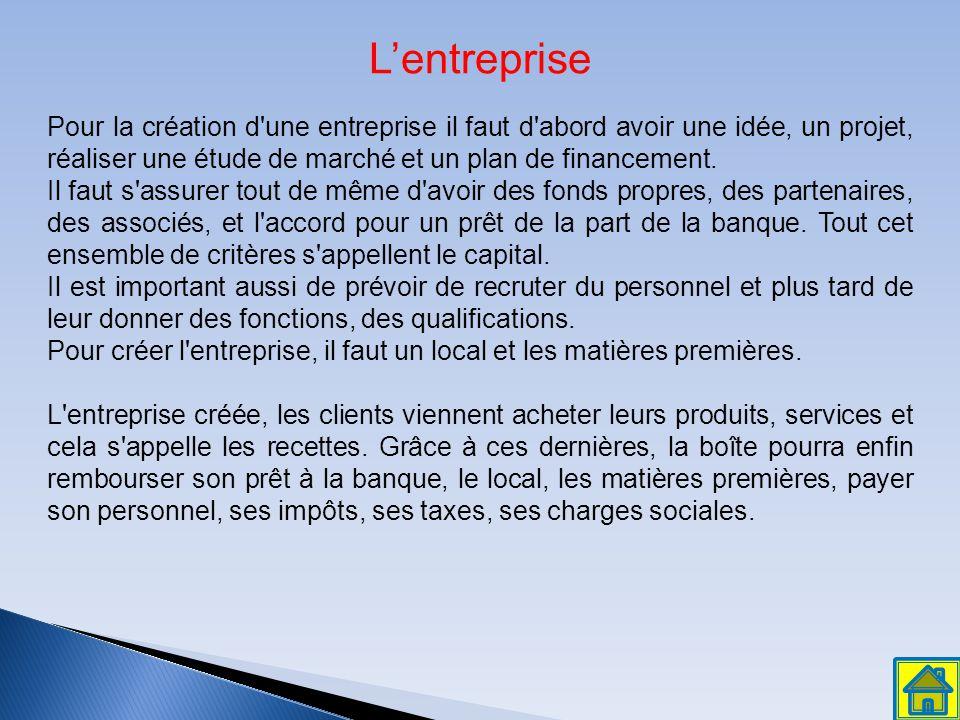 L'entreprise Pour la création d une entreprise il faut d abord avoir une idée, un projet, réaliser une étude de marché et un plan de financement.