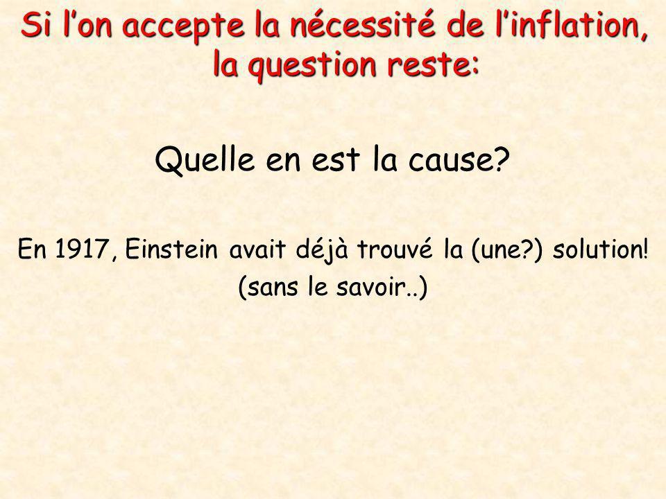 Si l'on accepte la nécessité de l'inflation, la question reste: