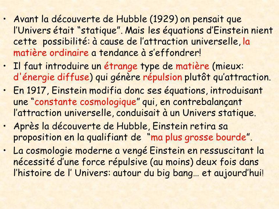 Avant la découverte de Hubble (1929) on pensait que l'Univers était statique . Mais les équations d'Einstein nient cette possibilité: à cause de l'attraction universelle, la matière ordinaire a tendance à s'effondrer!
