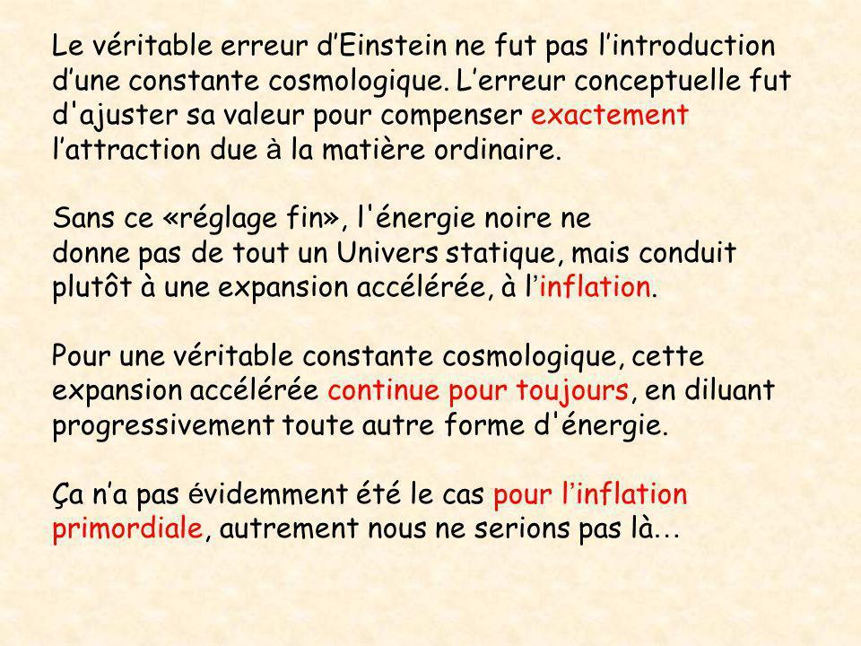 Le véritable erreur d'Einstein ne fut pas l'introduction