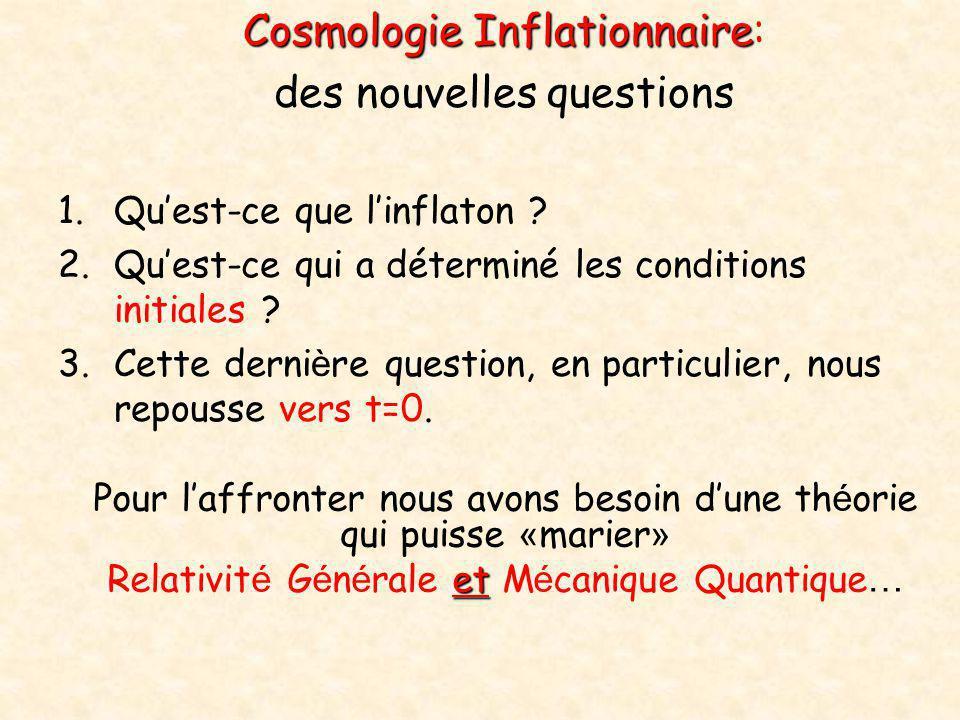 Cosmologie Inflationnaire: des nouvelles questions