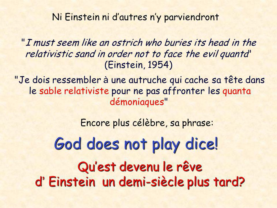 God does not play dice! Qu'est devenu le rêve