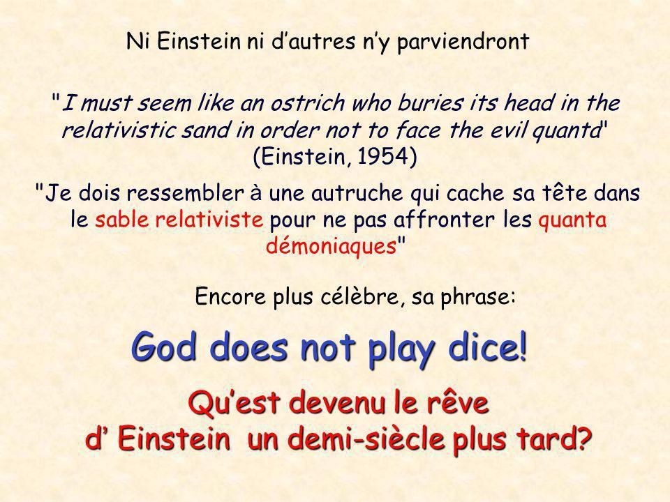 God does not play dice! Qu'est devenu le rêve