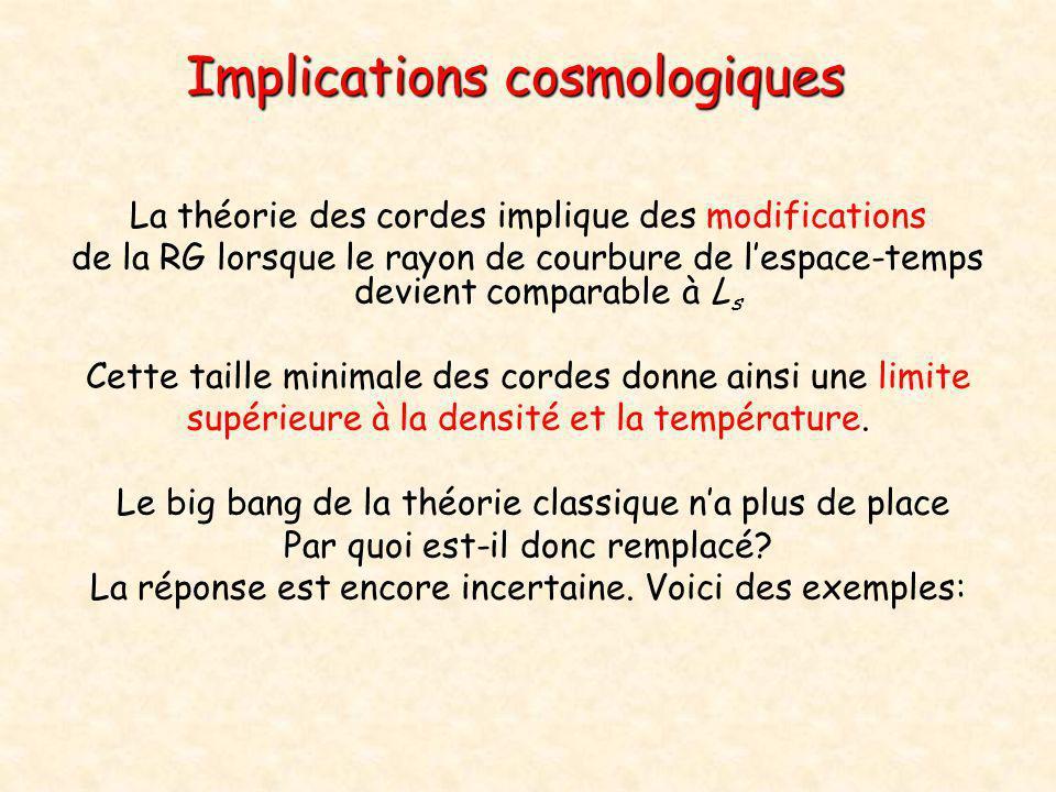 Implications cosmologiques