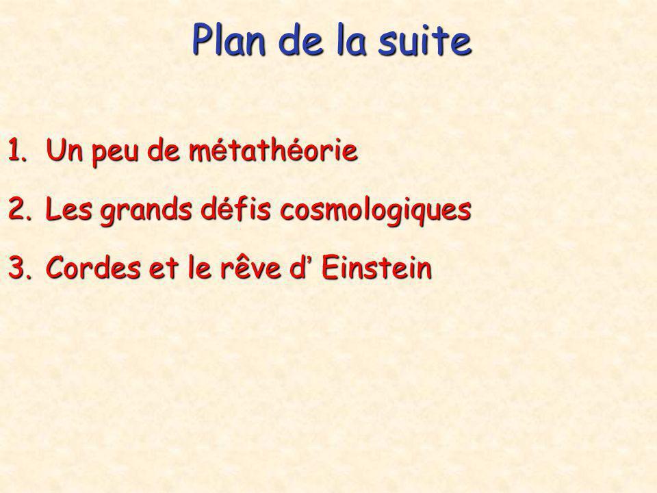 Plan de la suite Un peu de métathéorie Les grands défis cosmologiques