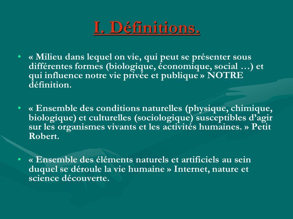 I. Définitions.