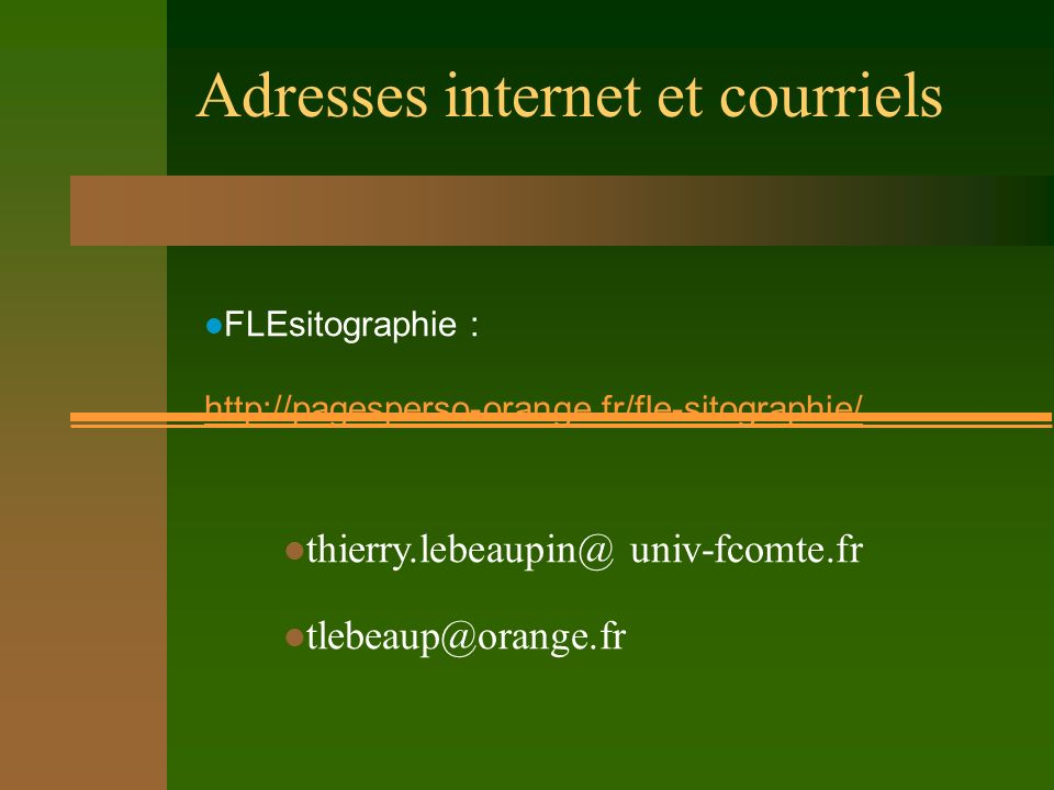 Adresses internet et courriels