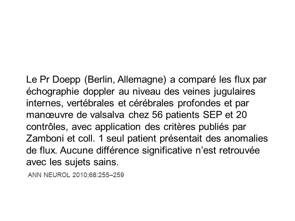 Le Pr Doepp (Berlin, Allemagne) a comparé les flux par échographie doppler au niveau des veines jugulaires internes, vertébrales et cérébrales profondes et par manœuvre de valsalva chez 56 patients SEP et 20 contrôles, avec application des critères publiés par Zamboni et coll. 1 seul patient présentait des anomalies de flux. Aucune différence significative n'est retrouvée avec les sujets sains.