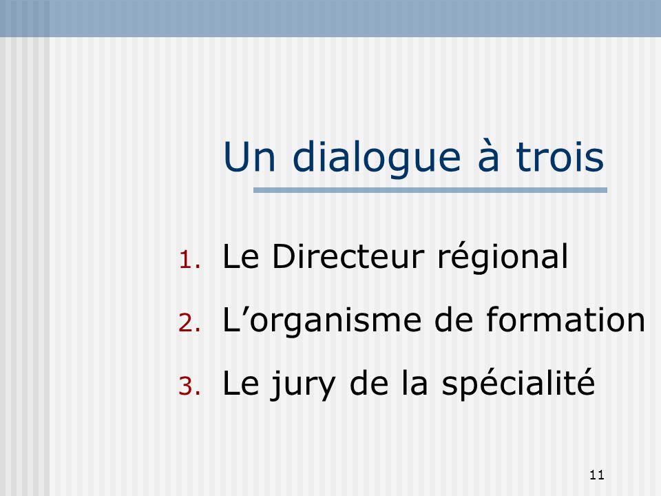 Un dialogue à trois Le Directeur régional L'organisme de formation