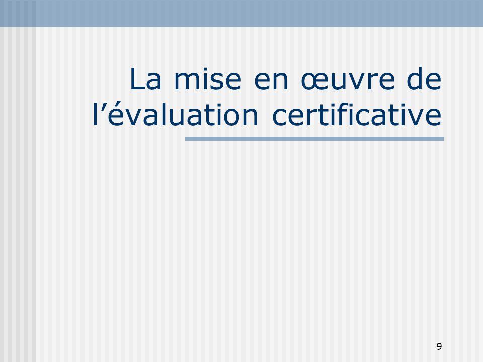 La mise en œuvre de l'évaluation certificative