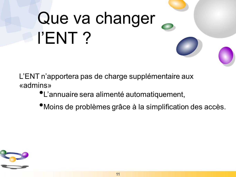Que va changer l'ENT L'ENT n'apportera pas de charge supplémentaire aux «admins»