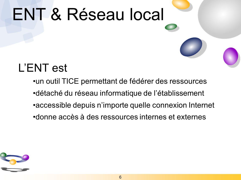 ENT & Réseau local L'ENT est