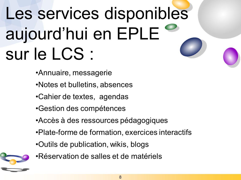 Les services disponibles aujourd'hui en EPLE sur le LCS :
