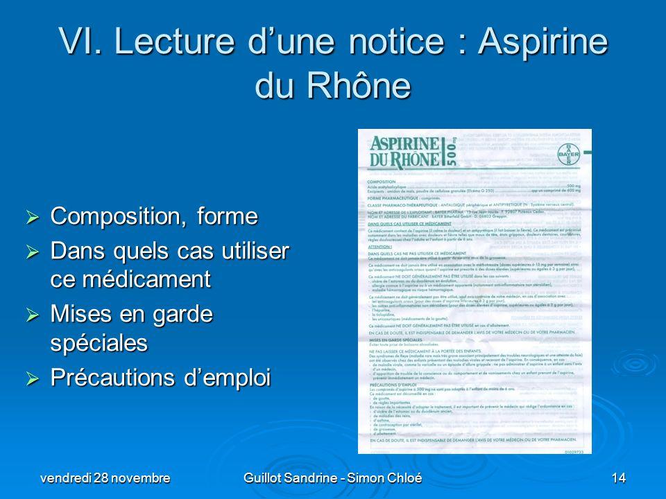 VI. Lecture d'une notice : Aspirine du Rhône